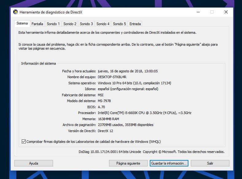 ¿Cómo saber qué DirectX tengo en Windows 10