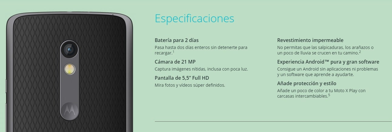 Moto X play especificaciones