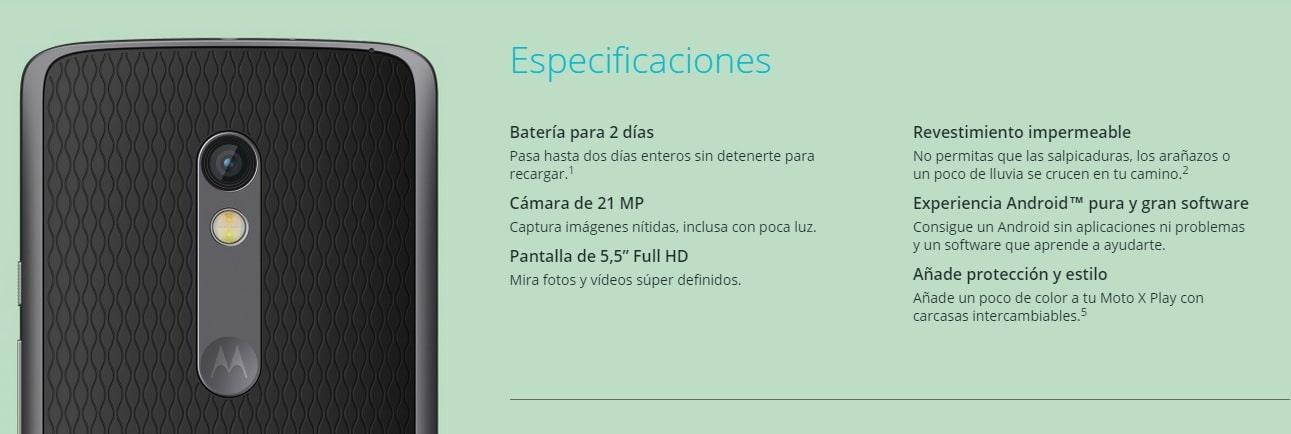 Moto X play especificaciones