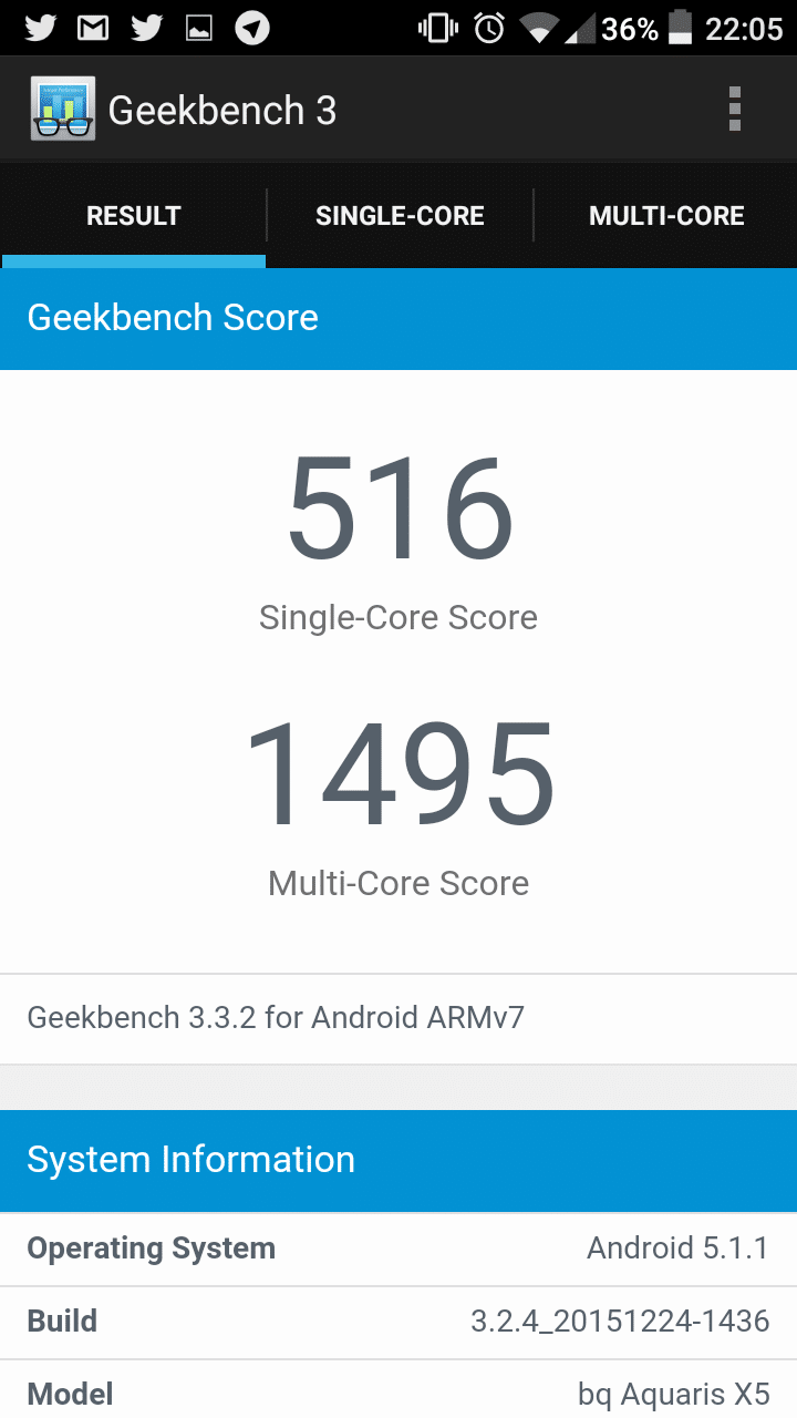 Geekbench Aquaris X5