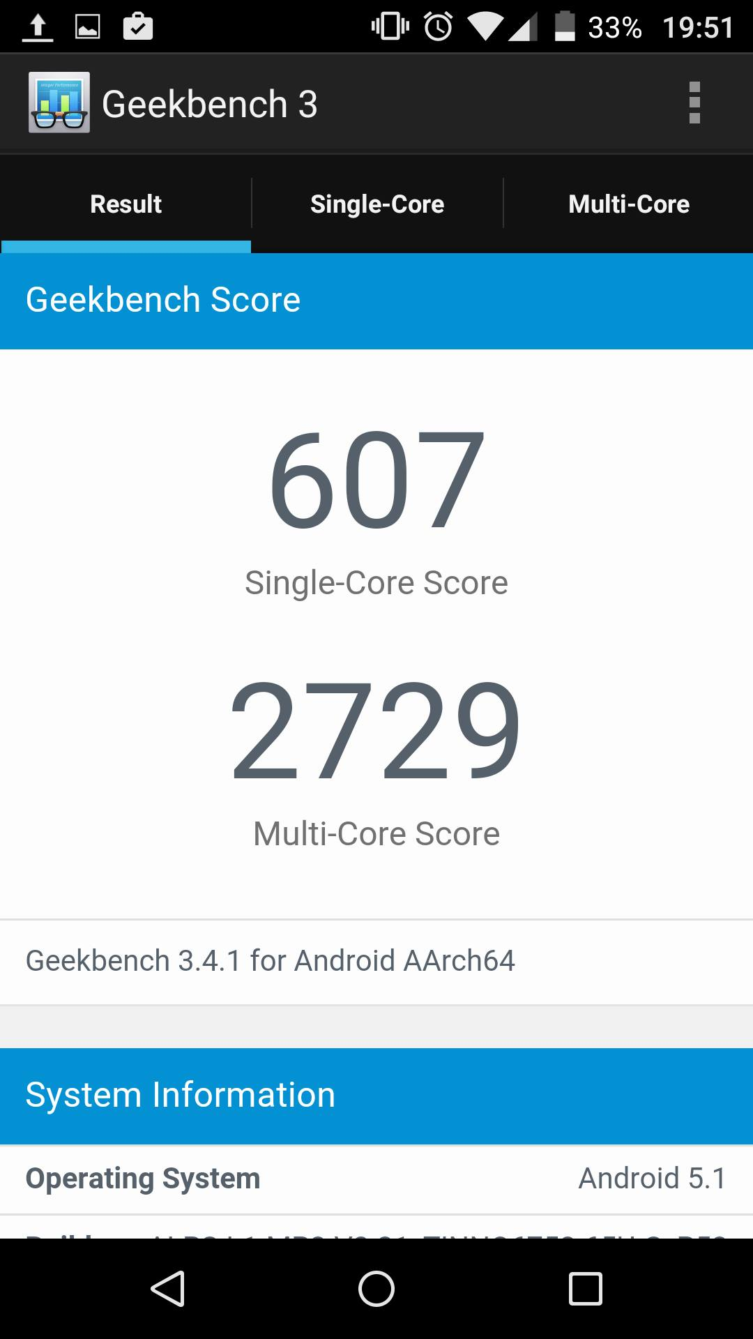 Wiko Fever 4G Geekbench