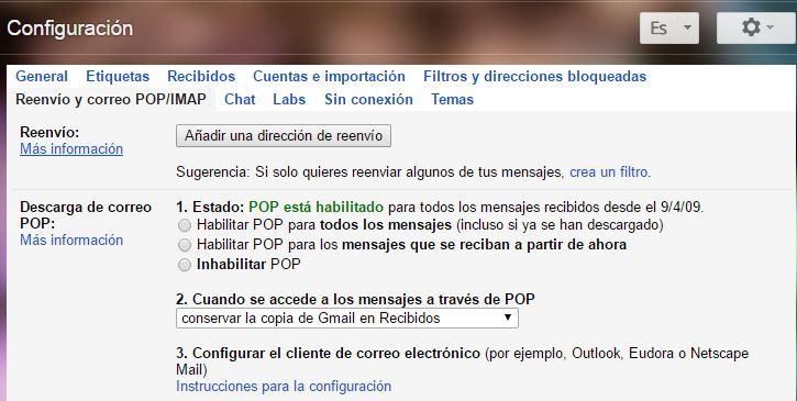 Añadir dirección de reenvio - Gmail