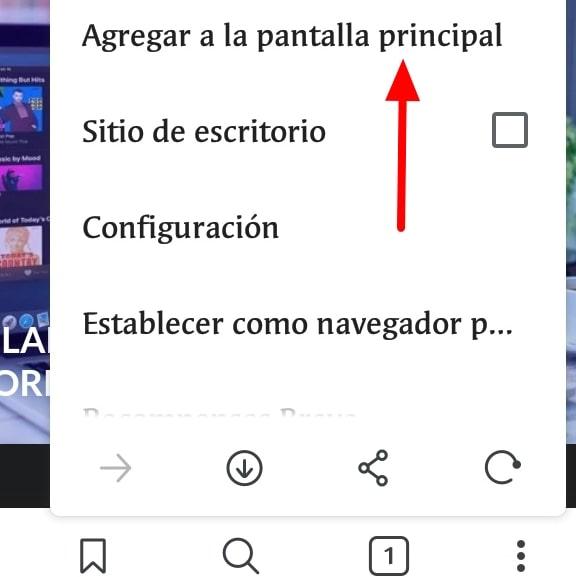 Añadir página web pantalla Inicio Android Brave Browser2 min