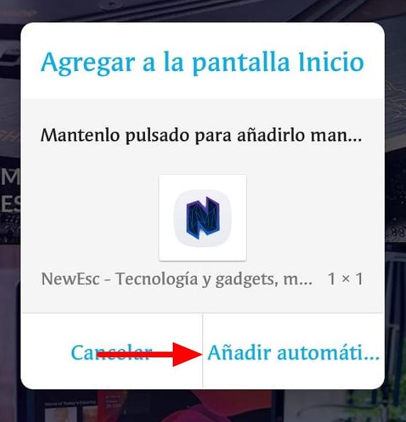 Añadir página web pantalla Inicio Android Google Chrome4