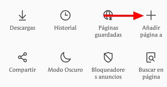 Añadir página web pantalla Inicio Android Samsung Browser1