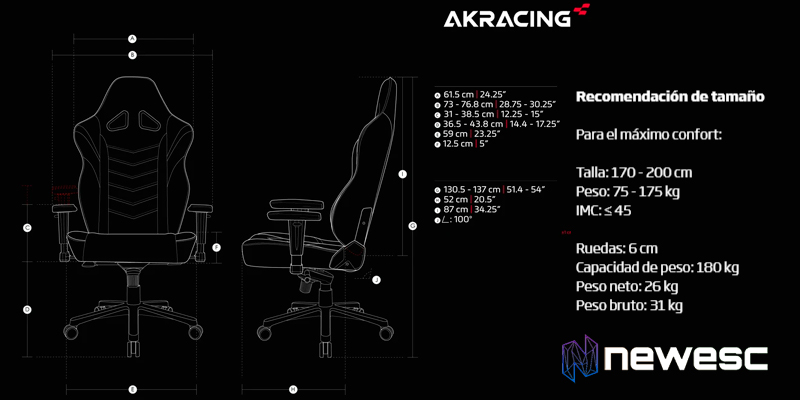 AKRacing MAX Dimensiones