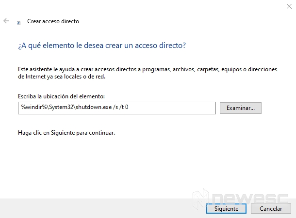 Acceso directo apagar Windows 10