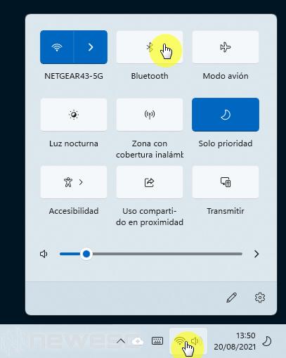 Activar Bluetooth en Windows 11 desde el menu