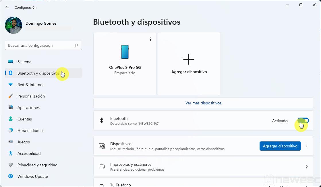 Activar Bluetooth en Windows 11 desde las configuraciones