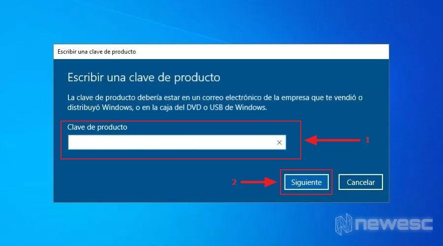 Activar windows 10 clave de producto instalacion