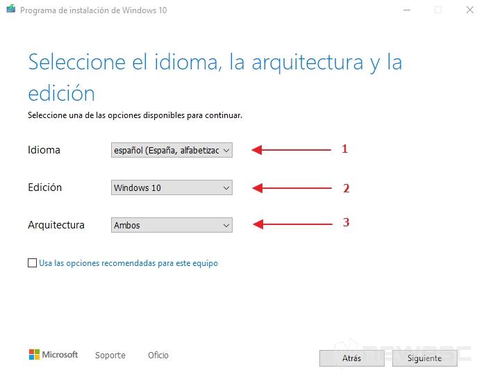 Activar windows 10 idoma edicion arquitectura