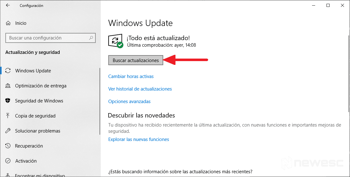Actualizar drivers en Windows 10 con Windows Update 3