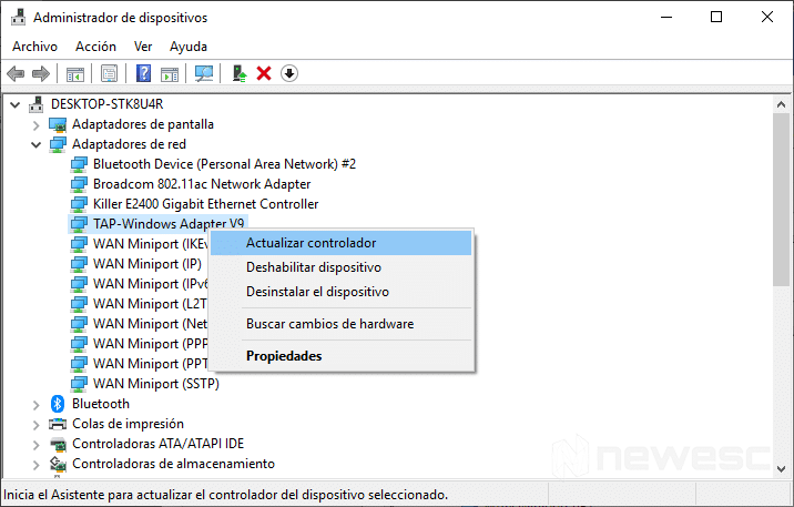 Actualizar drivers en Windows 10 con el Administrador de dispositivos 2