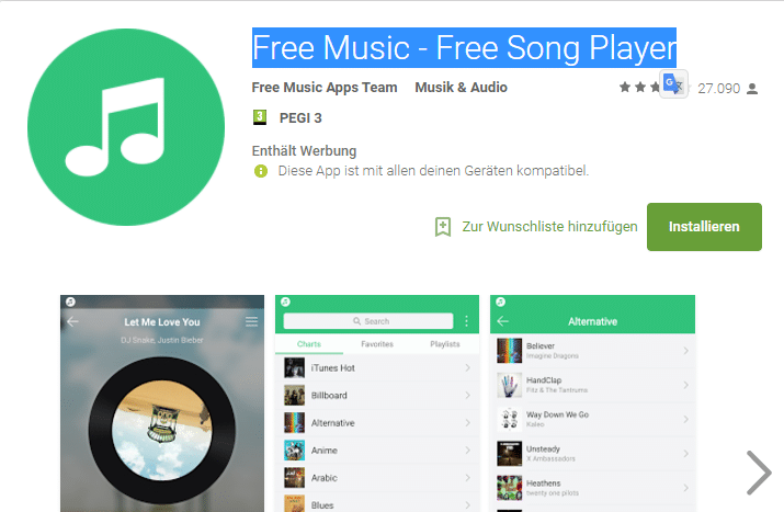 Alternative a Spotify Free Music - Free Song Player