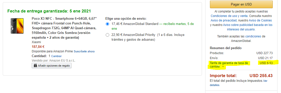 Amazon tarifa de garantía de tasa de cambio