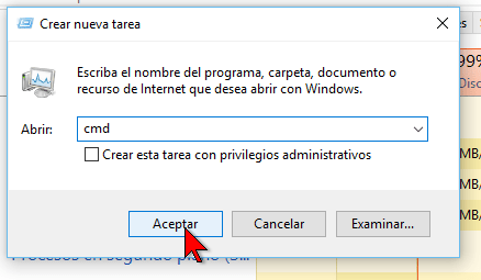 Apertura de simbolo de sistema Windows 10