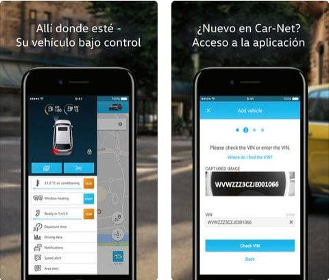 Aplicación Car-Net de Apple mostrando algunas funciones