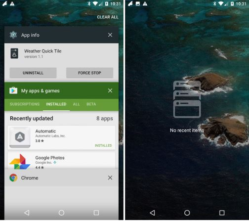 Apps recientes Android Nougat