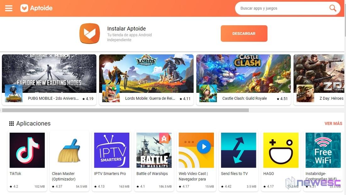 Aptoide para descargar apps en Android