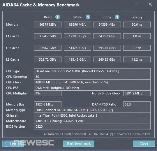 Asus TUF Gaming B560 Plus WiFi Aida