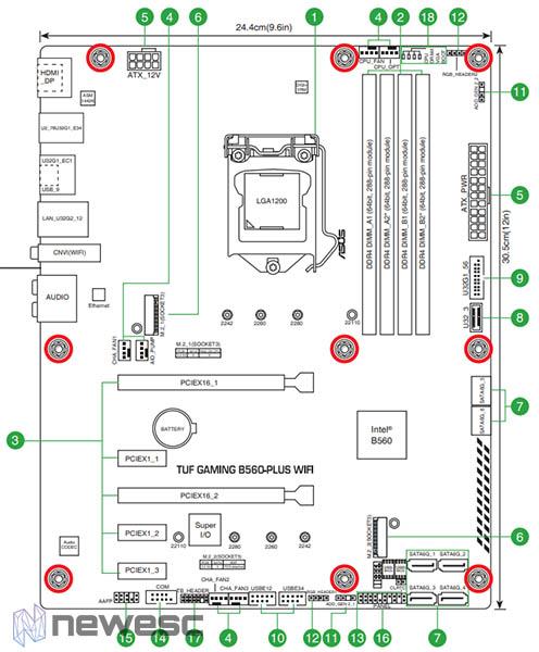 Asus TUF Gaming B560 Plus WiFi Esquema