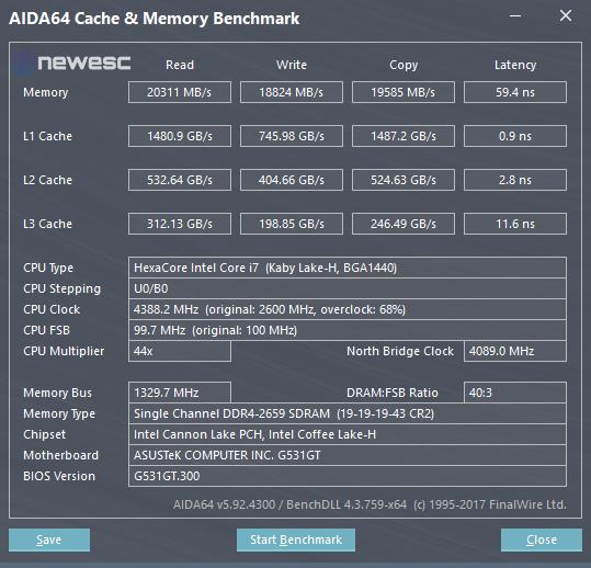 AsusROGStrixG531G Aida64 cache mem bench