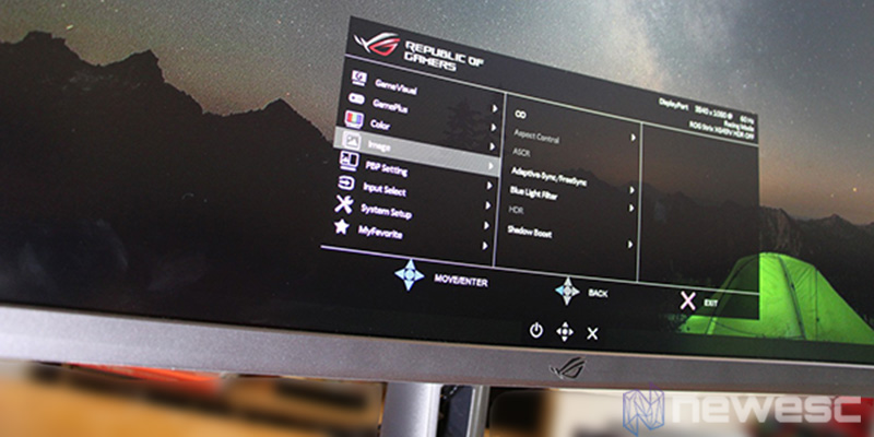 Asus ROG Strix XG49VQ menu