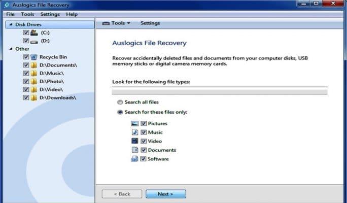 Recuperar datos y fotos de la Tarjeta SD - Auslogics file recovery