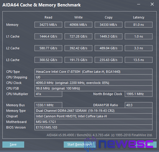 Benchmarks AIDA64 MSI GS75 Stealth 8SG