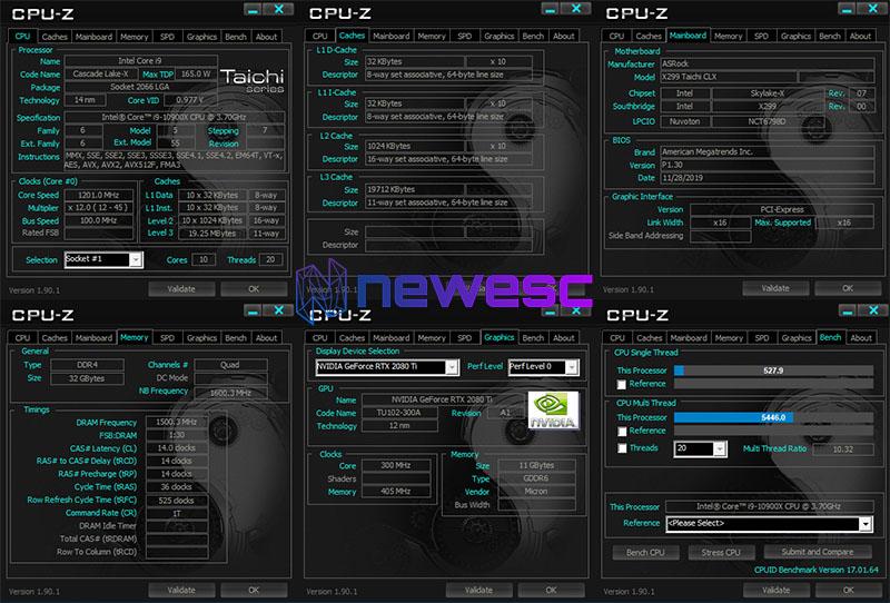 Benchmarks ASROCK X299 TAICHI CLX CPU Z 1