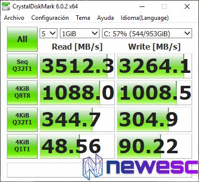 Benchmarks CristalDiskMark MSI GS75 Stealth 8SG