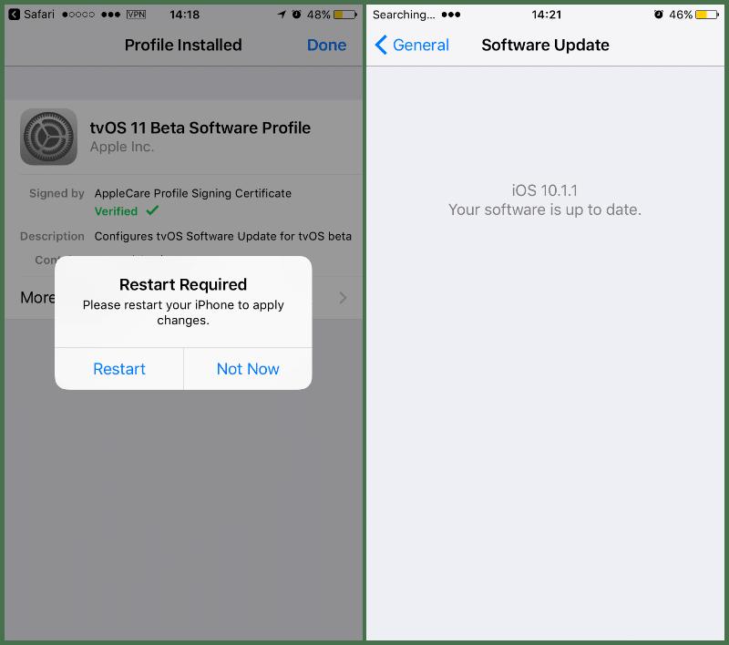 Bloqueo iOS TVOS 11 reinicio