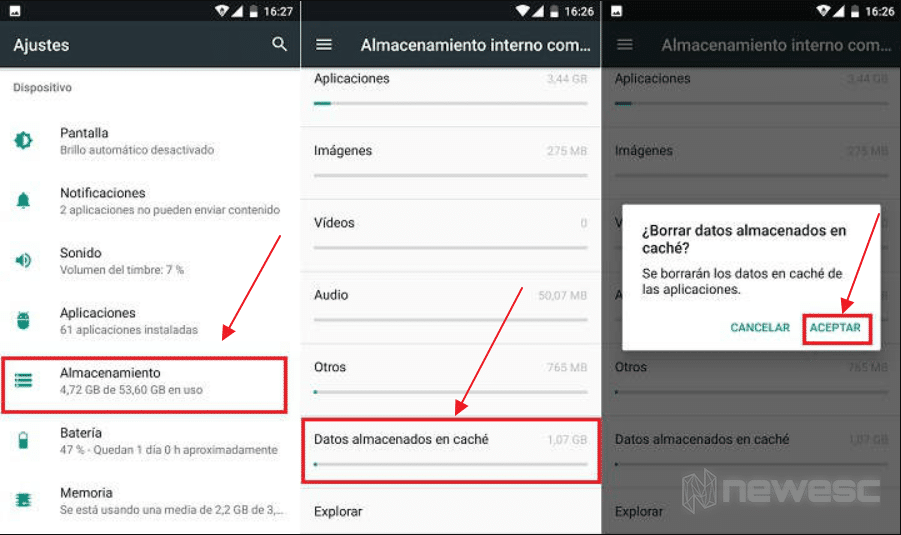 Borrar caché en Android sin apps