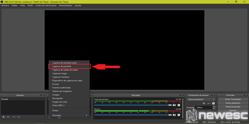 Cómo grabar la pantalla en Windows 10 con OBS 2