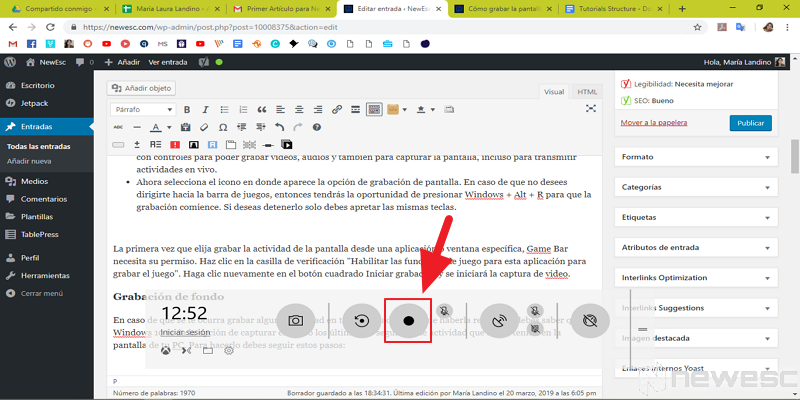 Cómo grabar la pantalla en Windows 10 con Windos 10 2