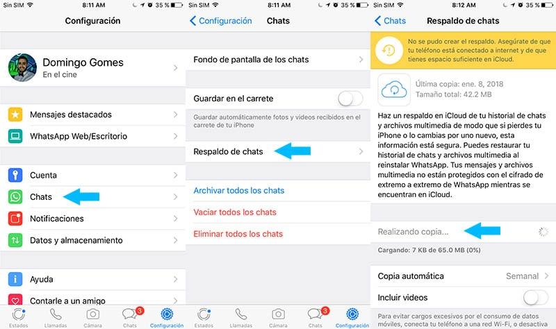 Cómo hacer un respaldo de WhatsApp en iOS (iPhone)