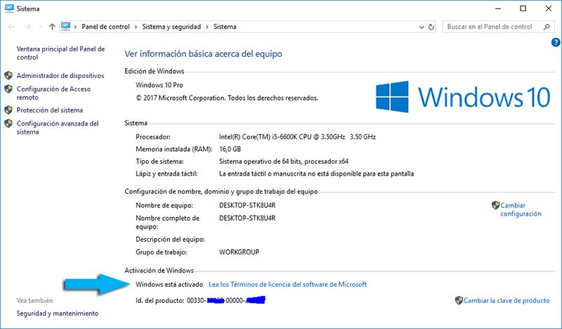 Cómo saber si tu Windows está activado