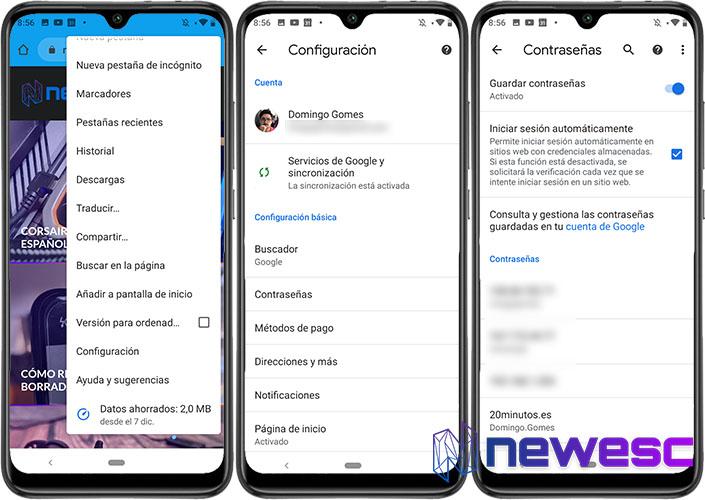 Cómo ver las Contraseñas guardadas en Android Google Chrome