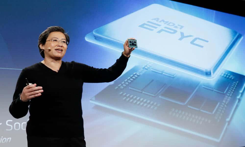 CEO de AMD Lisa Su presentando el procesador AMD Epyc basado en arquitectura Zen 2