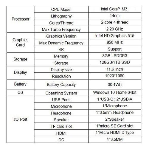 CHUWI Ubook especificaciones