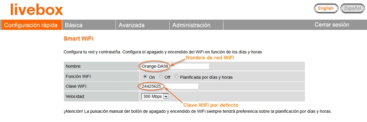 Cambiar contraseña Livebox Orange