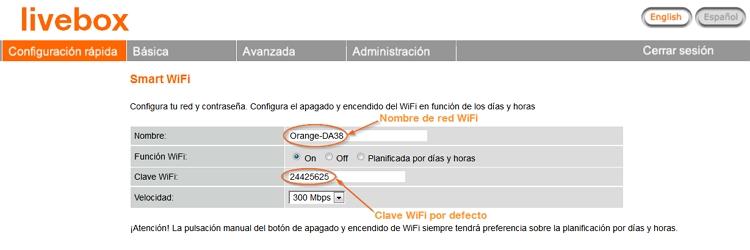 Cambiar contraseña Livebox Orange