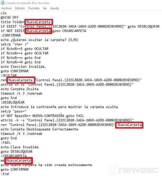Cambiar nombre de una carpeta encriptada sin apps