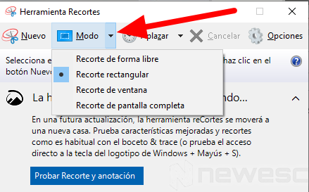 Captura de pantalla Windows Recortes