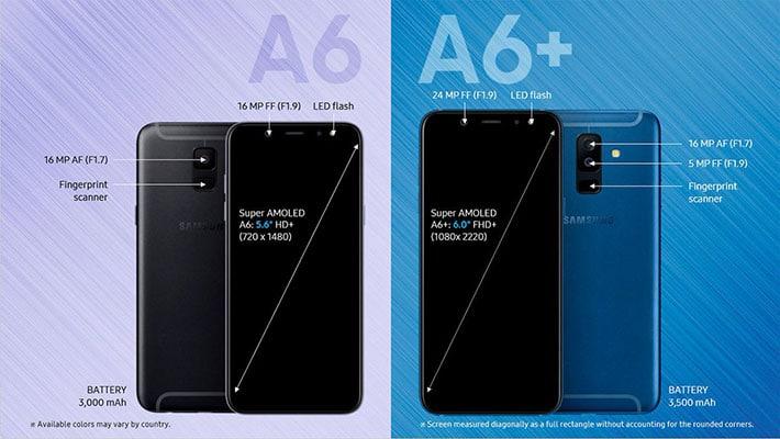 Caracteristicas Samsung Galaxy A6 y 6+