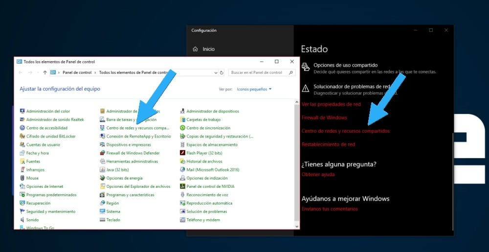 Centro de redes y recursos compartidos Windows 10