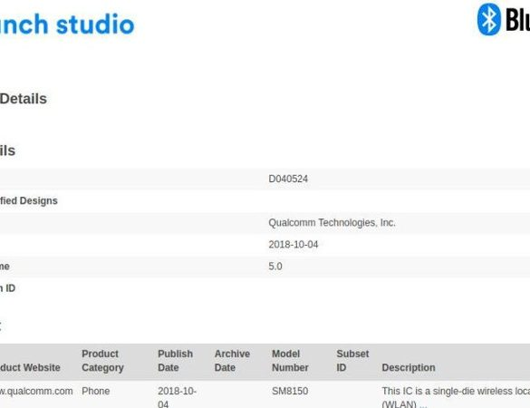 Certificación Bluetoth para Qualcomm SM8150