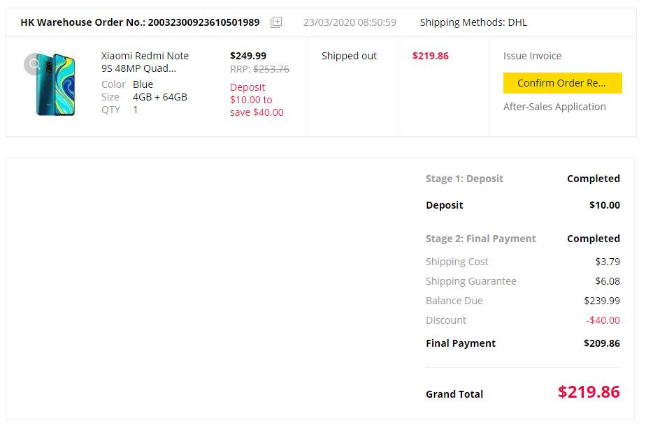 Comprar Redmi Note 9S GearBest 1