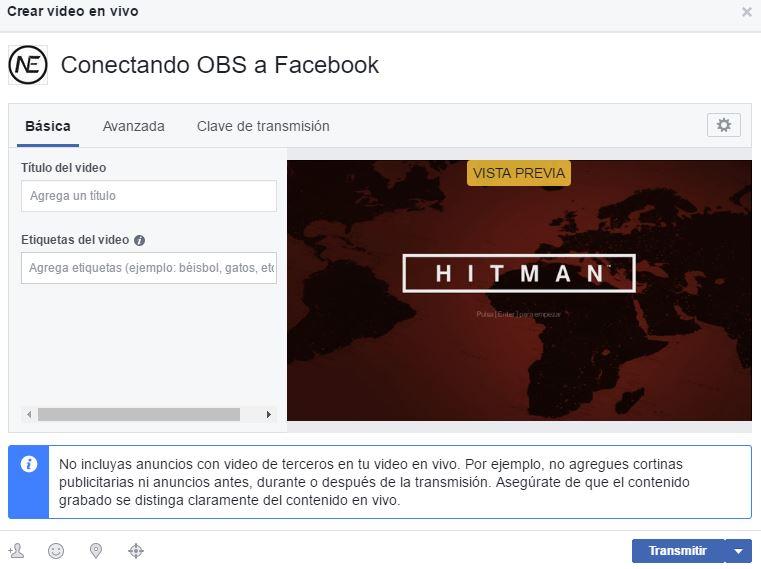Conectando OBS a Facebook 3
