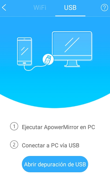 Conectar ApowerMirror con USB